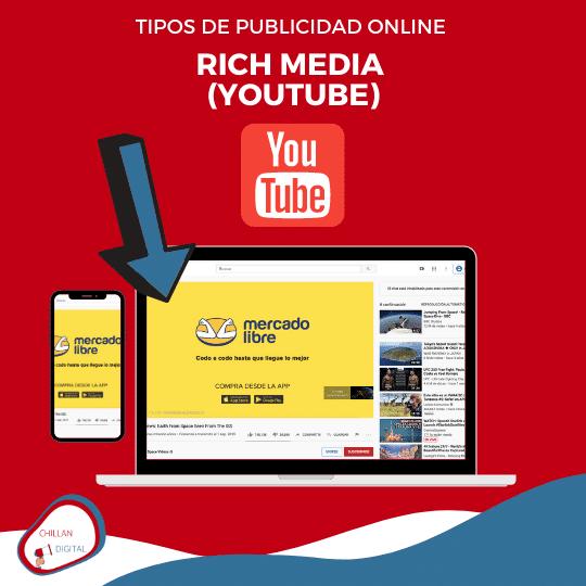 tipos y formatos de publicidad online para empresas 2020 Rich media Youtube